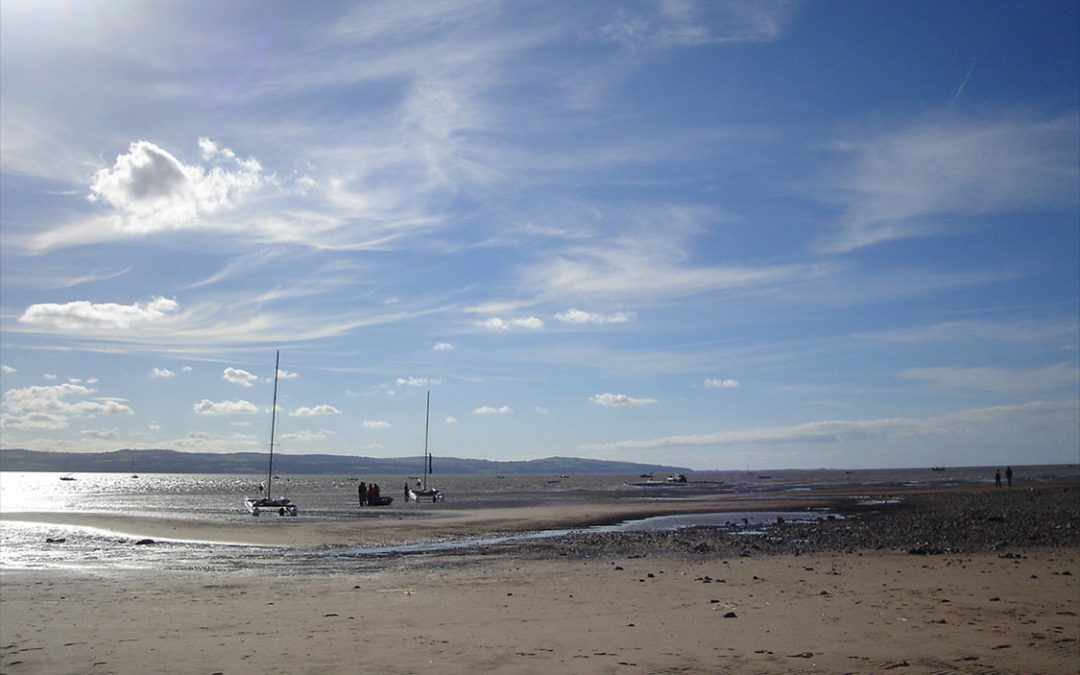 Photo: Thurstaston beach looking across the Dee to the hills of North Wales