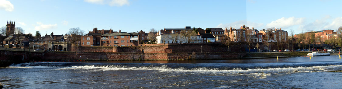 Photo: Chester city walls panorama