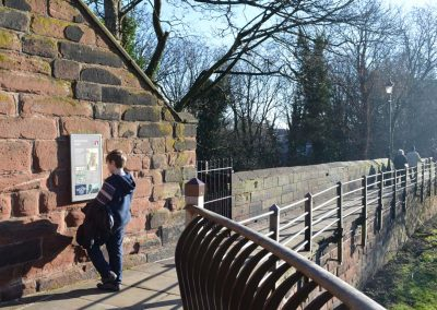 Information boards tell the story of the Chester city walls