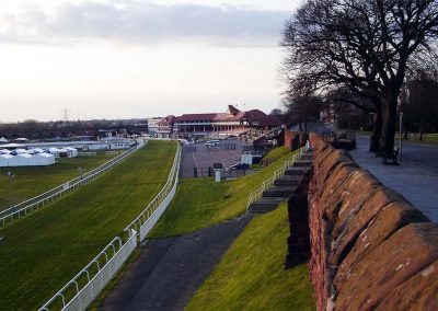 Chester racecourse running alongside the city wall