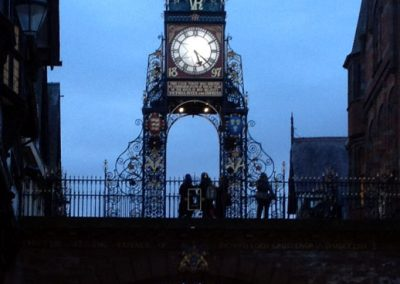 The Eastgate clock at dusk