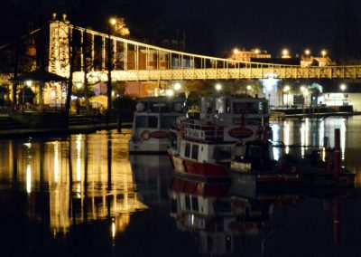 Boats on the Dee at night