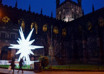 The Chester Christmas star outside the cathedral