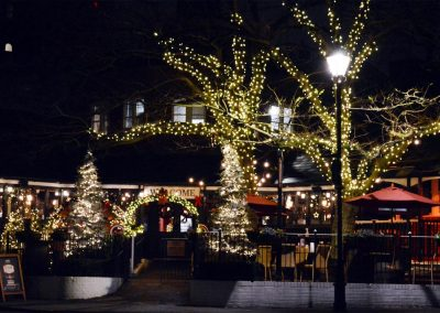 Festive lights at Hickory's Smokehouse by the River Dee